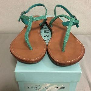 Sambag Heidi Snakeskin Sandal Aqua Size 38
